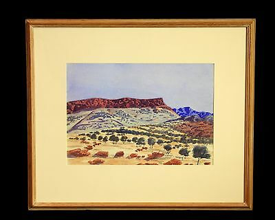 Namatjira style watercolor by early female arstist  Cordula Ebatarinja