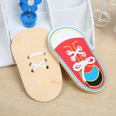 Children Wooden Lacing Shoes Toy Kids Educational Lacing Tie Shoelaces Learning
