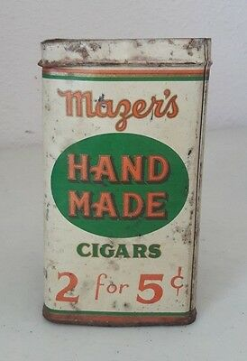 Vintage 1920's Mazer's Hand Made Cigars 2 For 5 Cents Store Tin