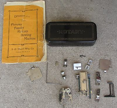 Vintage Florence Rotary Sewing Machine Manual & Accessories