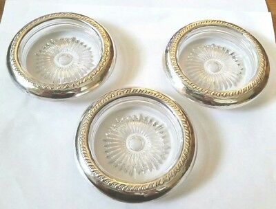 Set of 3 Sterling & Glass Coasters