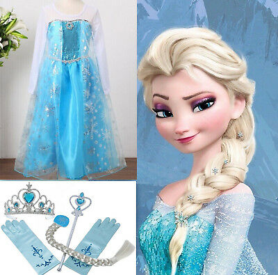 Frozen Disney QUEEN ELSA DRESS HALLOWEEN Party Costume Girl Cosplay Princess