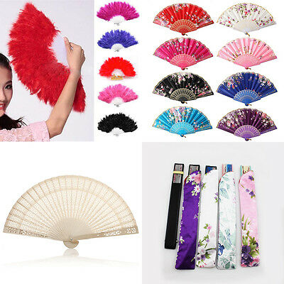 Vintage Chinese Asian Dance Wedding Party Lace Silk Folding Hand Held Flower Fan