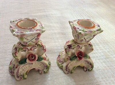 pair of capodimonte style candleholders