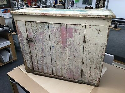Primitive One Door Cupboard Cabinet Salmon and Green Paint 14d30h37w