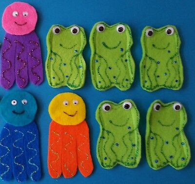 5 Speckled Frogs 5 Little Ducks 3 Jellyfish Felt Finger Puppets Teacher Resource