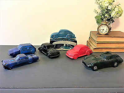 Lot Of 6Collectible Avon Glass Cars  Vintage Decanter Car Shaped Bottles VW