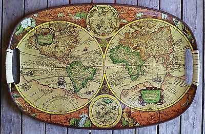 VINTAGE RETRO OVAL SERVING TRAY WORLD MAP IMAGE 1960s DRINKS BAR BARWARE BBQ