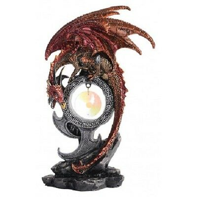 Crystal Fire Dragon Statue With Talisman Statue Figurine Ornament - Maroon Red