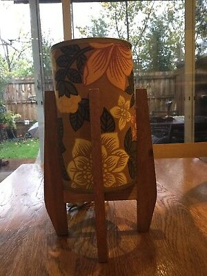 Vintage Retro Beautiful Timber Table Lamp With Original Shade