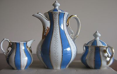 ANTIQUE COFFEE POT,,CREAMER AND SUGAR BOWL  BLUE & WHITE WITH GOLD    Prussian