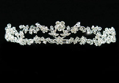 Bridal Wedding Pageant Tiara Prom Accessories Bridesmaid Flowers Crystal AT1140