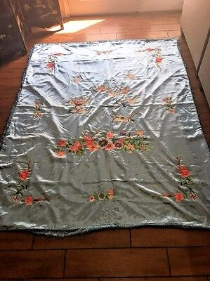 Exquisite  Antique Embroidered Bed Spreed And Pillow Case