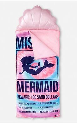 JUSTICE Mermaid Sleping Bag Pink Blue Shell Pillow NWT