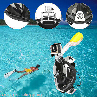 Full Face Snorkeling Snorkel Mask Diving Swim Goggles W/ Breather Pipe For GoPro