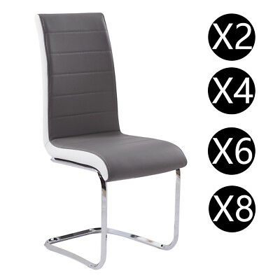 2/4/6/8 Dining Room Chairs Grey White Side Faux Leather Padded High Back Chrome