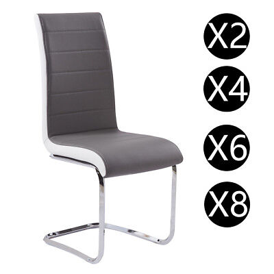 Gizza 4/6/8 Pcs Dining Chairs Modern Artificial Leather Grey White Chrome Legs