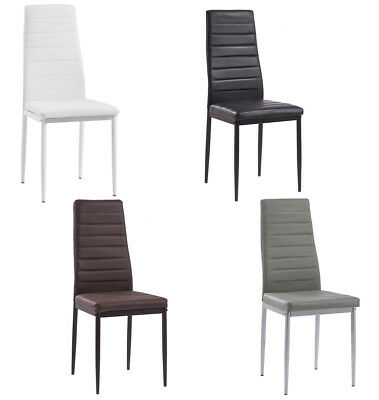 High Back Slim Lined Dining Chair Kitchen Table Seat Padded Faux Leather Colors