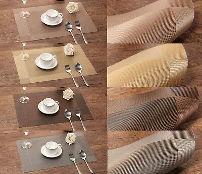 Vinyl Placemats 4 6 8 PCS/Set Washable Heat Insulation Dining Tableware Pads UK