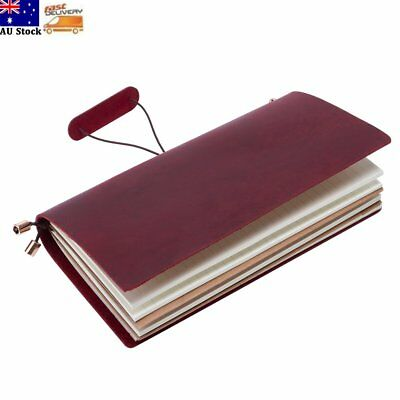 Retro Leather Cover Handmade Bound Notebook Travel Journal Diary Sketchbook Red