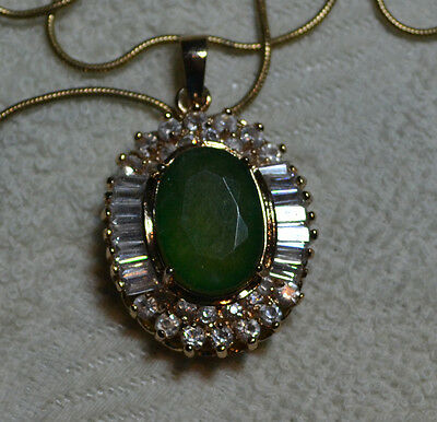 Vintage pendant, with chain, 14k rose gold, natural large African Emerald stone