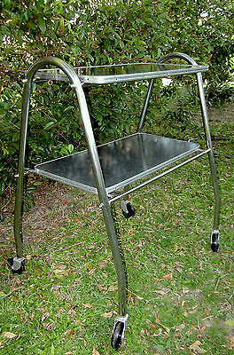 Vintage Deco Two Tier Drinks Service Trolley atomic industrial mid century eames