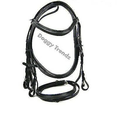 Quality Leather Horse Bridle Flash Full Cob Pony Reins Black Brown Padded