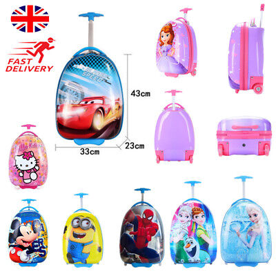 Kids Disney Hard Shell Suitcase Holiday Travel Children Luggage Trolley Bags UK