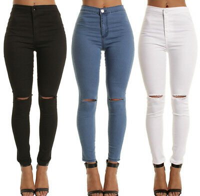 Women High Waist Skinny Pants Ripped Knee Jeans Stretch Celeb Leggings Size 6-14