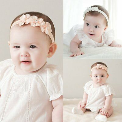 Infant Newborn Baby Kids Girls Cotton Blend Headband Hair Band Clip Pink/White