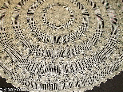 Vintage Round Crochet Tablecloth (Light Ecru) Hand Done ? T/B 75