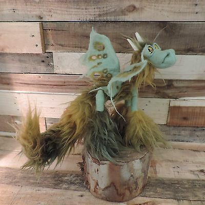 Golden Amber Dragon. Poeable fantasy art creature handmade ooak doll toy film