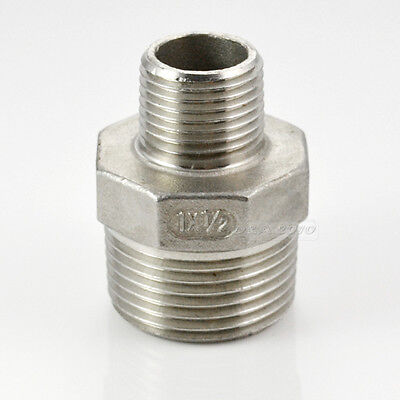 """1""""x1/2""""Male Hex Nipple Threaded Reducer Pipe Fitting Stainless Steel 304 BSP CL"""