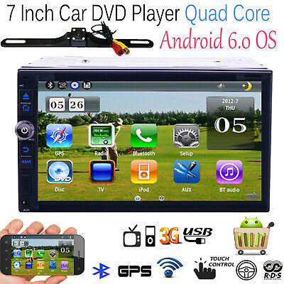 Double 2Din Android 6.0 Car Stereo GPS DVD Player Quad core HeadUnit Free Camera