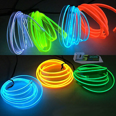 2M/5M LED Soft Flash Flexible Neon Light Glow EL Strip Tube Wire Rope W/ 5mm Lip