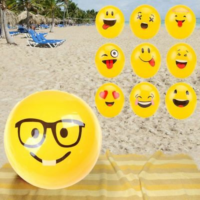 Cute Emoji Face Beach Ball Toy for Kids Game Water Play Pool Fun Inflatable 1pcs