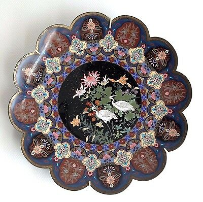 """Large 18"""" Japanese Cloisonne Enamel Charger Plate with Egrets"""