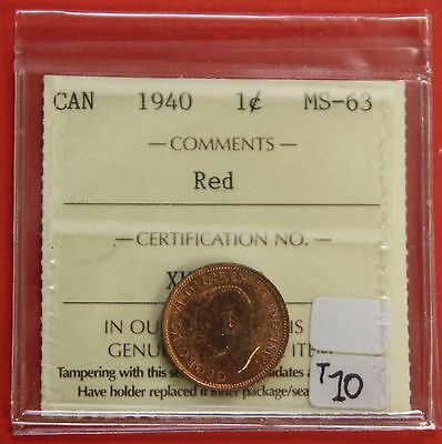 1940 Canada One Cent Penny Coin B232 - $10 ICCS MS-63 Red