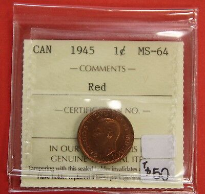 1945 Canada One Cent Penny Coin B239 - $50 ICCS MS-64 Red