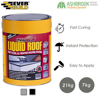 Everbuild | Aquaseal Liquid Roof | Waterproof Membrane | Rubber Roof Sealant