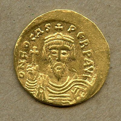 Interesting PHOCAS Gold Solidus Struck 602-10 CE! Great Original Unclipped Coin!