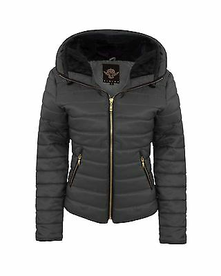 Ladies Womens Quilted Padded Long Sleeve Puffer Bubble Black Jacket Hooded Coat