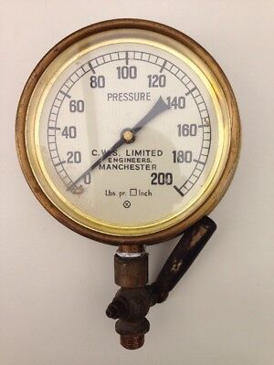 """Nice vintage brass pressure gauge 5"""" face - Made By CWS Limited"""