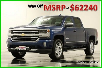 2017 Chevrolet Silverado 1500 MSRP$62240 4X4 High Country DVD Sunroof Crew 4WD New Heated Cooled Leather Seats Navigation GPS 16 17 Cab 6.2L V8 20 Inch Chrome