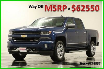 2017 Chevrolet Silverado 1500 MSRP$62550 4X4 LTZ Sunroof Z71 DVD Blue Crew 4WD New GPS Navigation Heated Cooled Leather 16 2016 17 Cab 6.2L V8 Chrome Rims