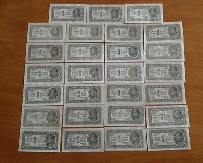 27 1944 Yugoslavia 1 Dinar lot WW11 era foreign currency paper antique money