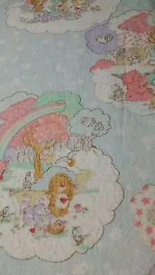 Vintage Care Bears 1985 American Greetings Twin Size Blanket With Satin Trim