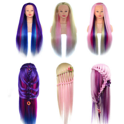 24'' Hair Styling Wig Hairdressing Training Makeup Practice Head Doll Mannequin
