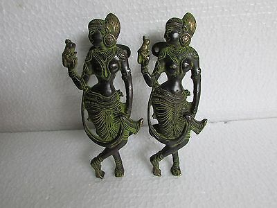 Vintage Style Rare Handcrafted Indian Goddess Pair Brass Door Handle Pull
