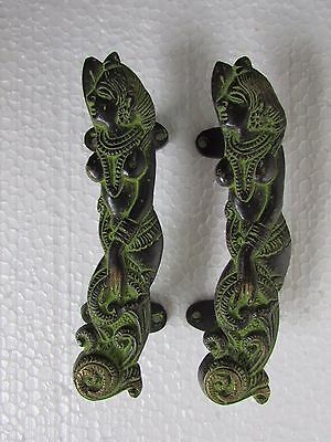 Vintage Style Rare Handcrafted Tribal Goddess Pair Brass Door Handle Pull